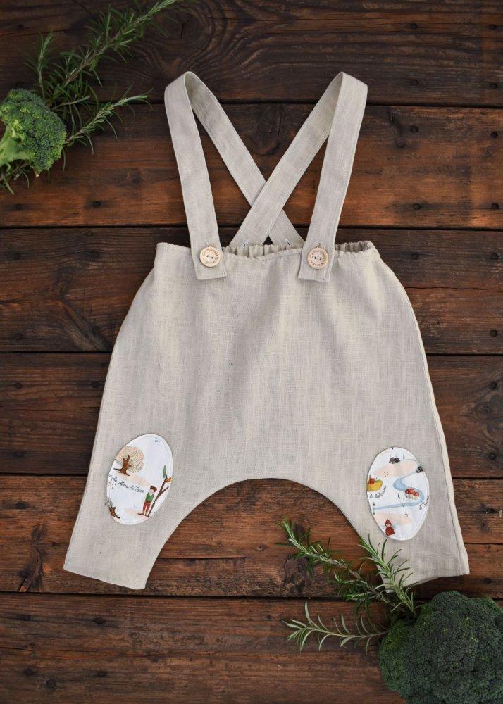 Pantalone salopette bambino lino e cotone biologico