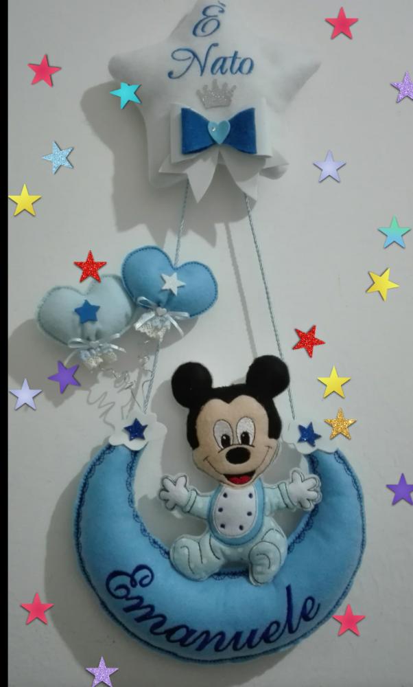 Fiocco nascita pannolenci   azzurro con  topolino