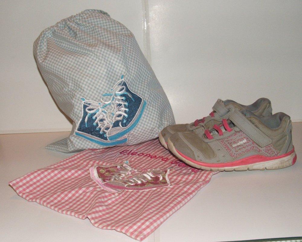 Sacco porta scarpe in cotone con ricamo