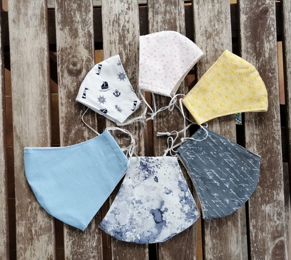 Mascherina di cotone lavabile e tasca per il filtro