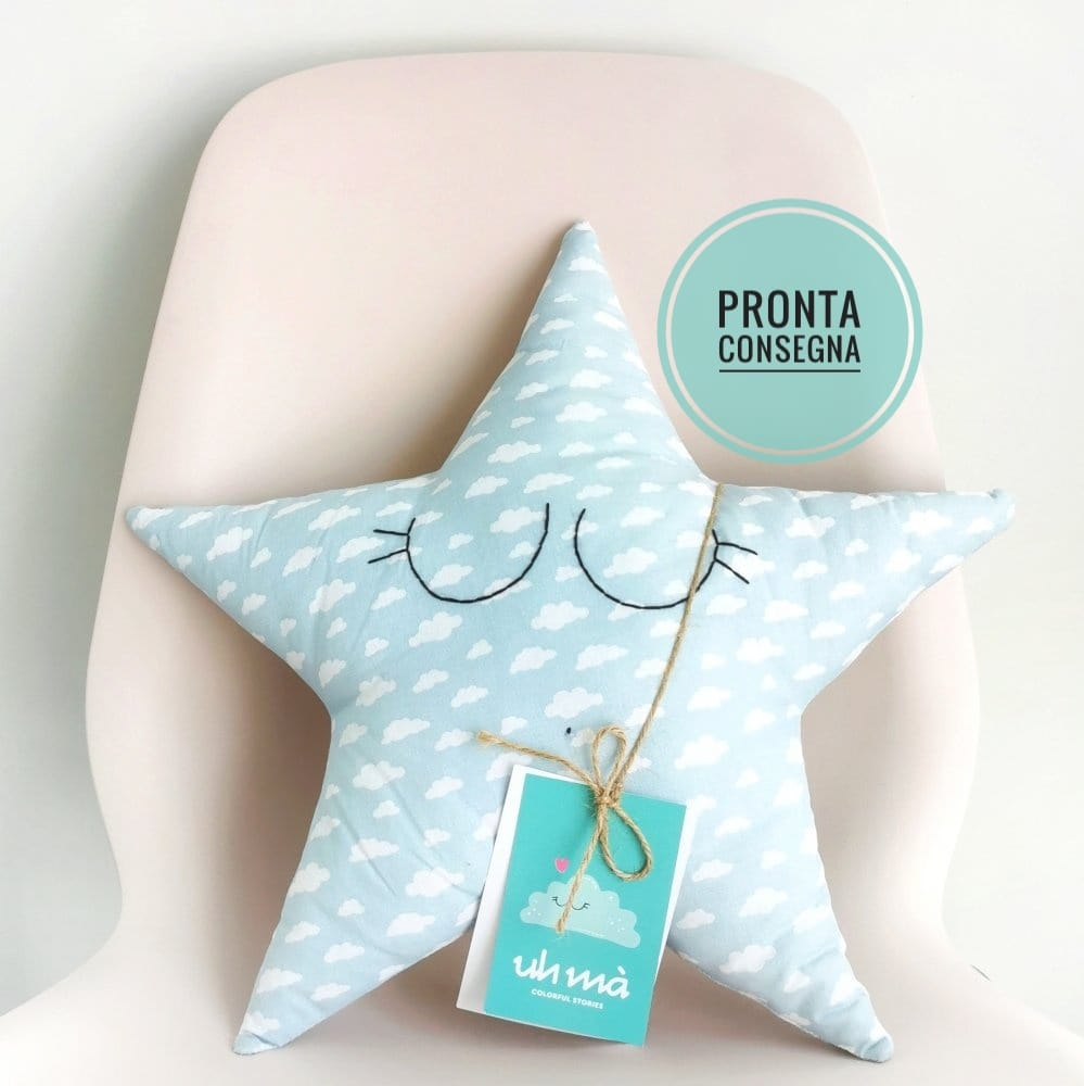PRONTA CONSEGNA - Cuscino stella azzurra, pupazzo da compagnia, regalo neonato