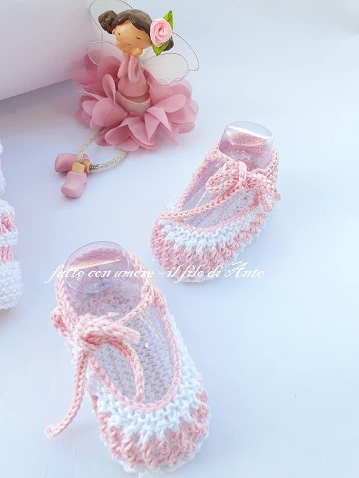 Scarpine bambina estive in puro cotone lavorate a mano