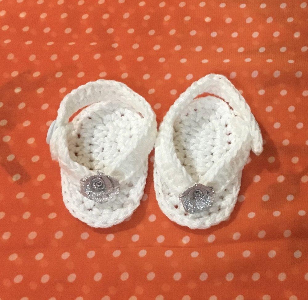 Scarpette   infradito  neonato  cotone uncinetto