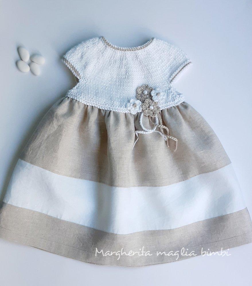 Abito in cotone e lino - Battesimo - neonata/bambina - bianco ecru con fiori uncinetto