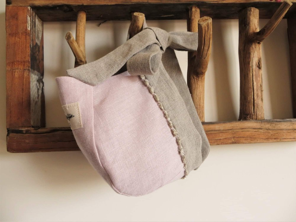 Cuffietta in lino Bio rosa polvere 6/12 mesi