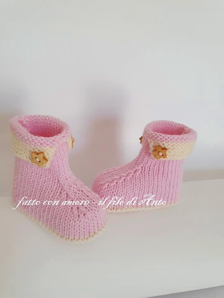 Scarpine stivaletto bambina in pura lana merinos
