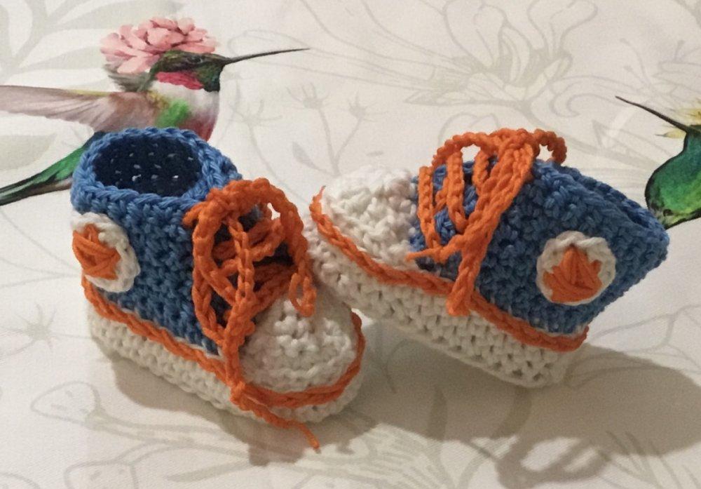 Scarpette uncinetto  crochet COTONE  stile Converse