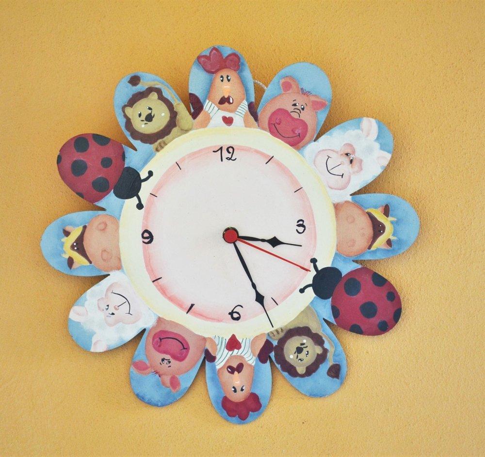 orologio legno dipinto a mano