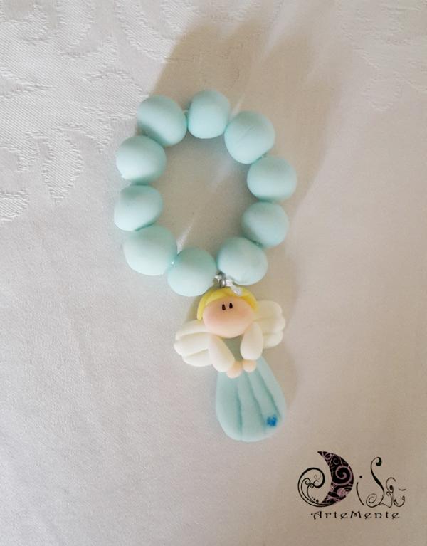 Bomboniera battesimo rosario con angelo