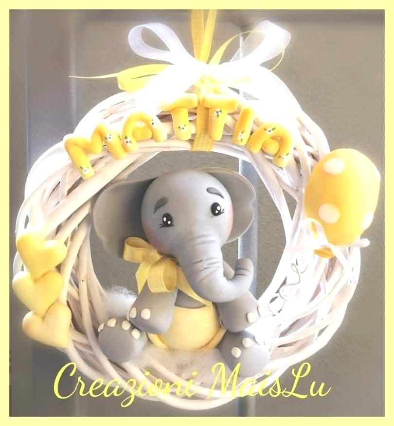 Ghirlanda nascita elefantino in pasta di mais