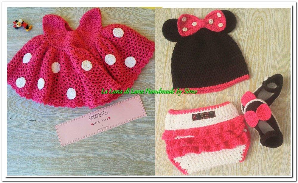 Abitino Minnie a uncinetto per neonata, con cappello, scarpine e copri pannolino    Completino stile Minnie per bimba