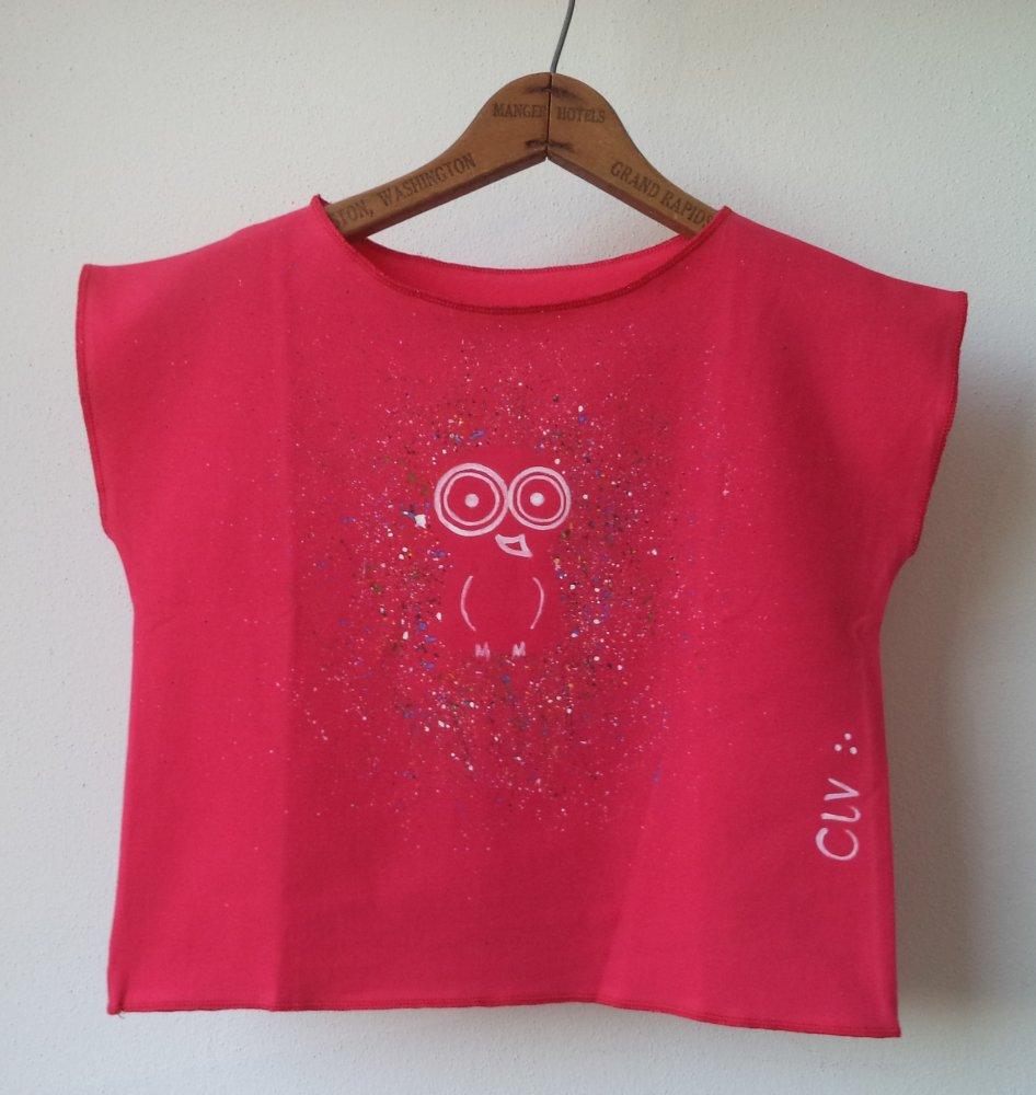 maglietta di cotone rosa fucsia da bambina con disegno originale la civetta diurna - T-shirt cotone fucsia
