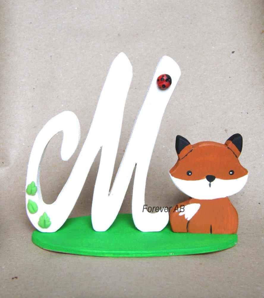 Cake topper lettera Iniziale Nome in legno con Volpe personalizzabile