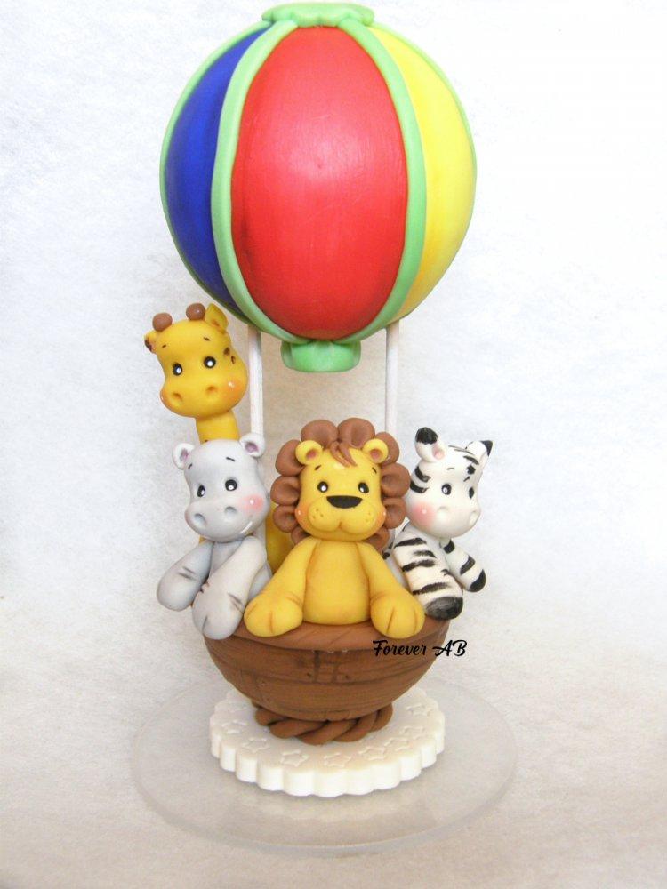 Cake topper Mongolfiera Animaletti leone giraffa ippopotamo, cake topper battesimo, cake topper nascita,  cake topper primo compleanno