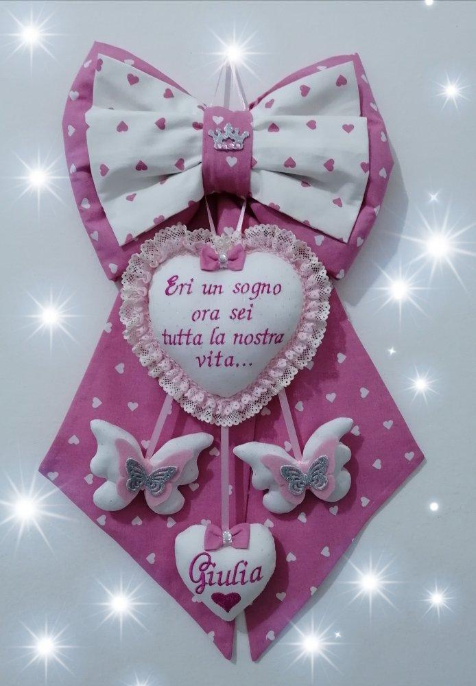 Fiocco nascita rosa in tessuto a cuoricini