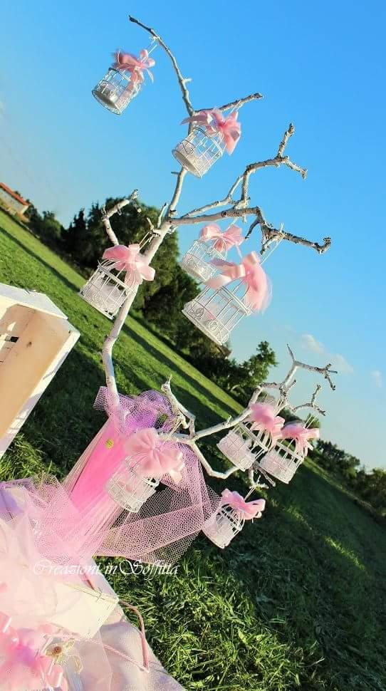 Gabbietta portacandele con confetti