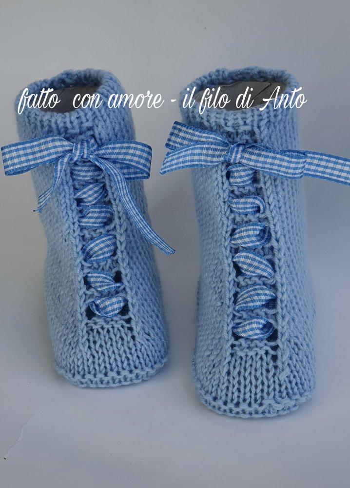 Stivaletti in lana / scarpine neonato in lana merinos