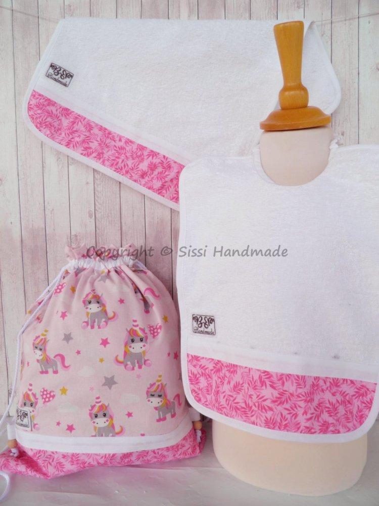 SET ASILO SCUOLA bambino, 3 pezzi: bavaglio, sacca e asciugamano (UNICORNI ROSA)