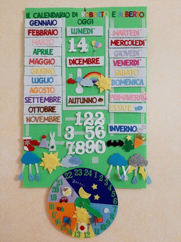 Calendario didattico con attività quotidiane e festività