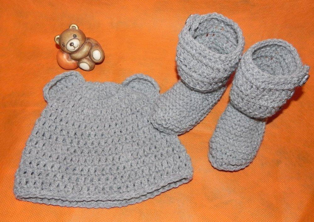Scarpette-stivaletti e cappellino con orecchie in lana bebè grigio  NEONATO