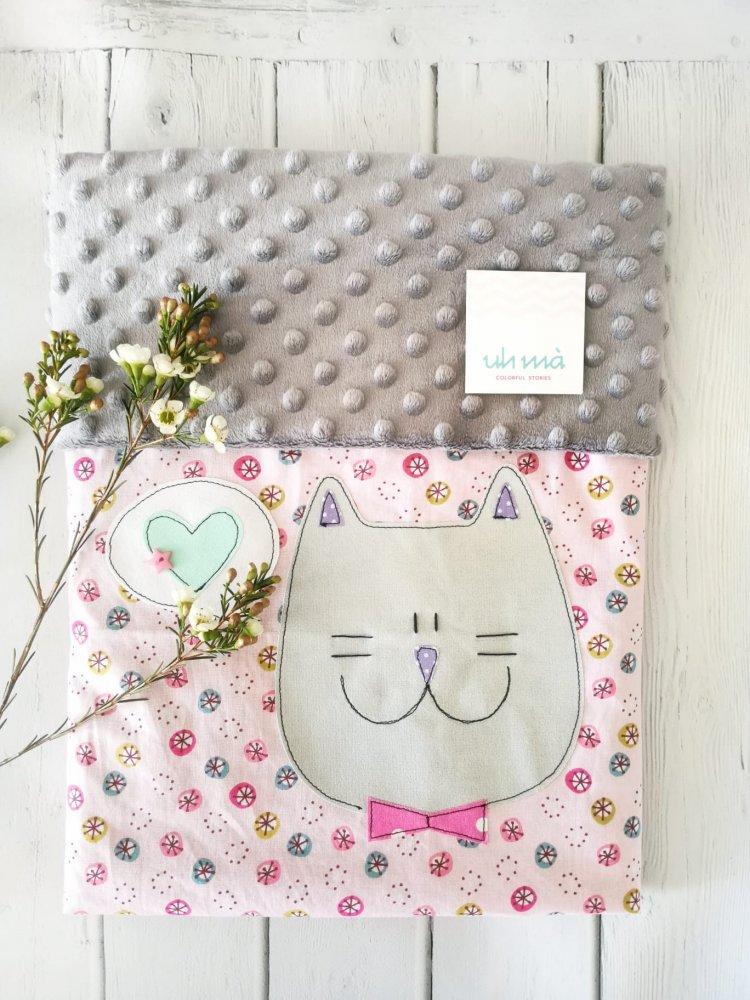Copertina neonato, regalo nascita, coperta cotone e minky pile
