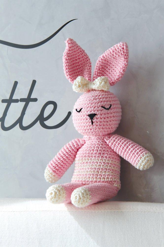 Coniglio - pupazzo a uncinetto fatto a mano - rosa
