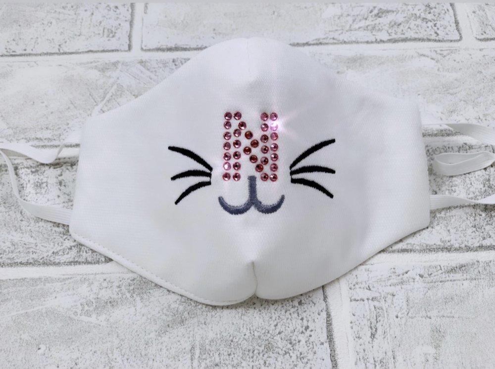 Mascherina cotone viso bimba personalizzata con iniziale in strass-Elastici regolabili- Lavabile