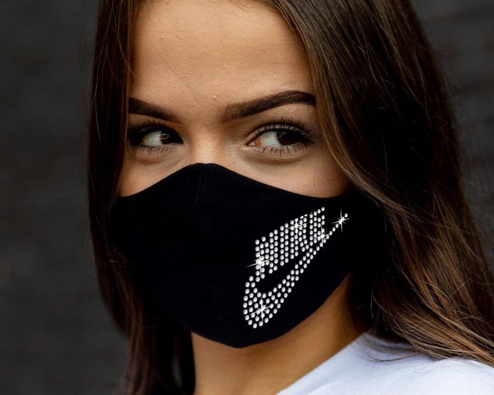 Mascherina cotone viso donna con brillantini - Elastici regolabili - Lavabile