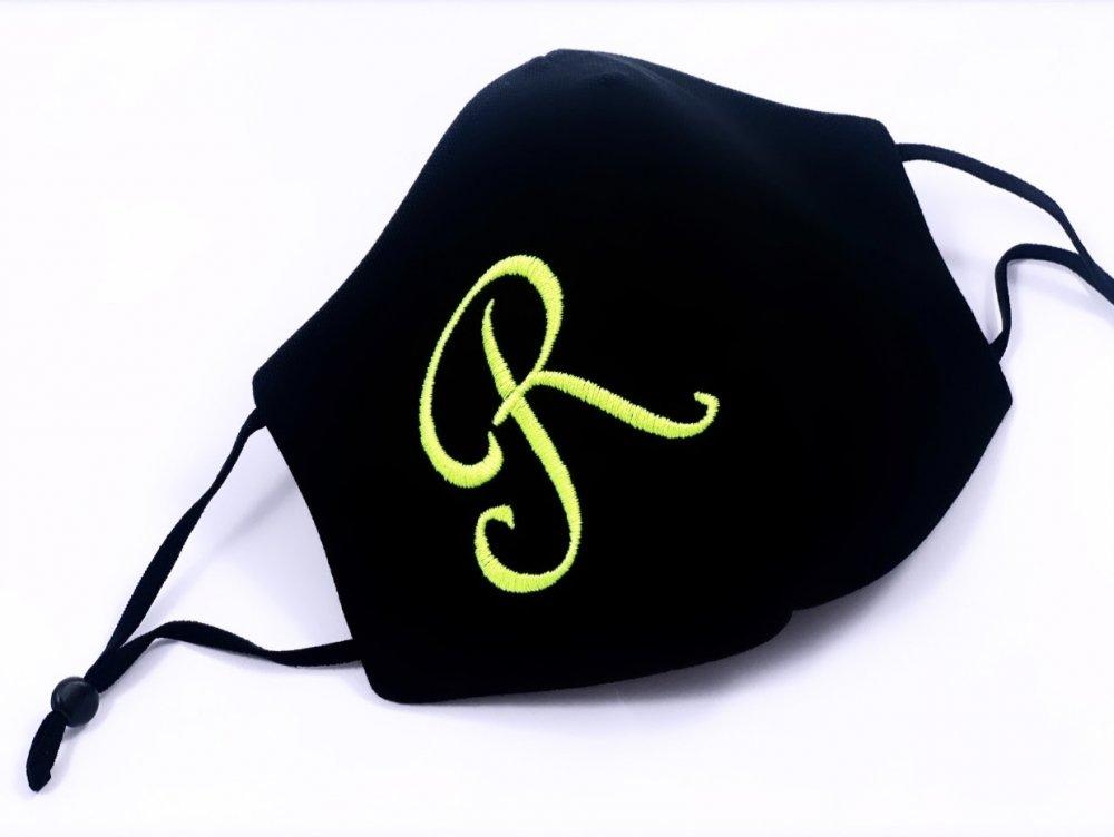 Mascherina cotone personalizzata con iniziale ricamata - Filato fluorescente - Elastici regolabili - Lavabile