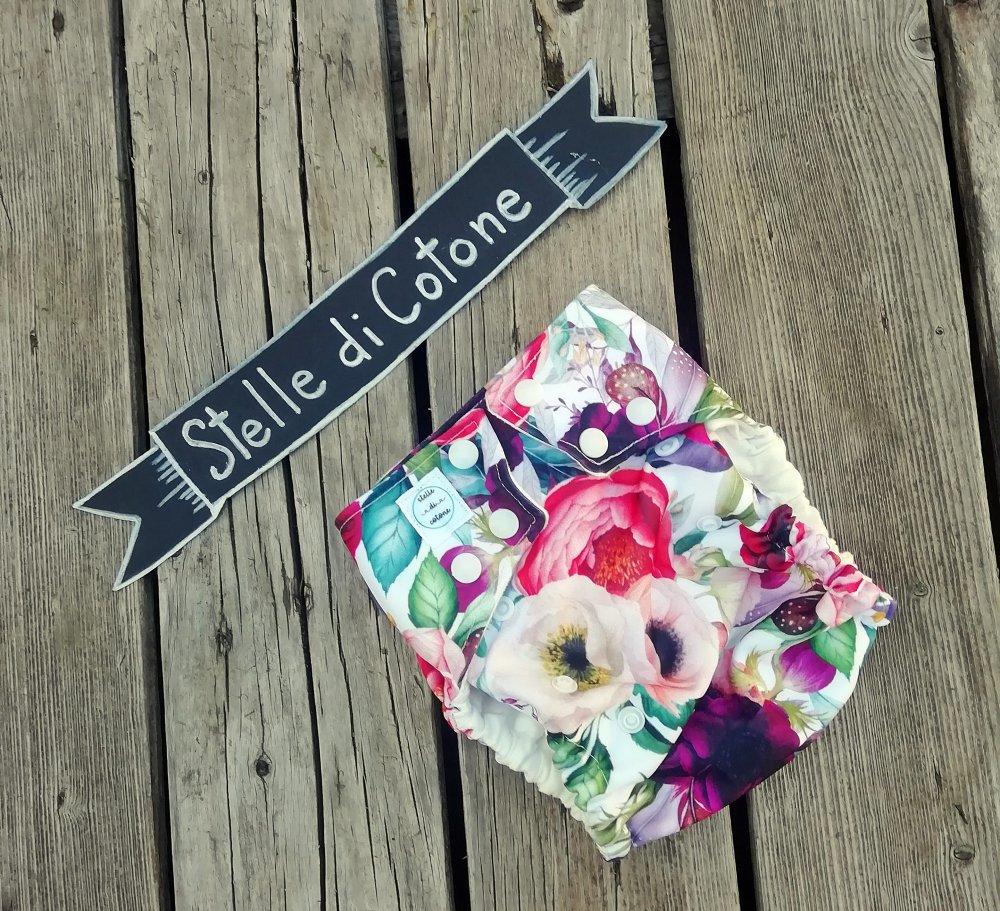 Pannolino lavabile con tasca multitaglia fiori boho