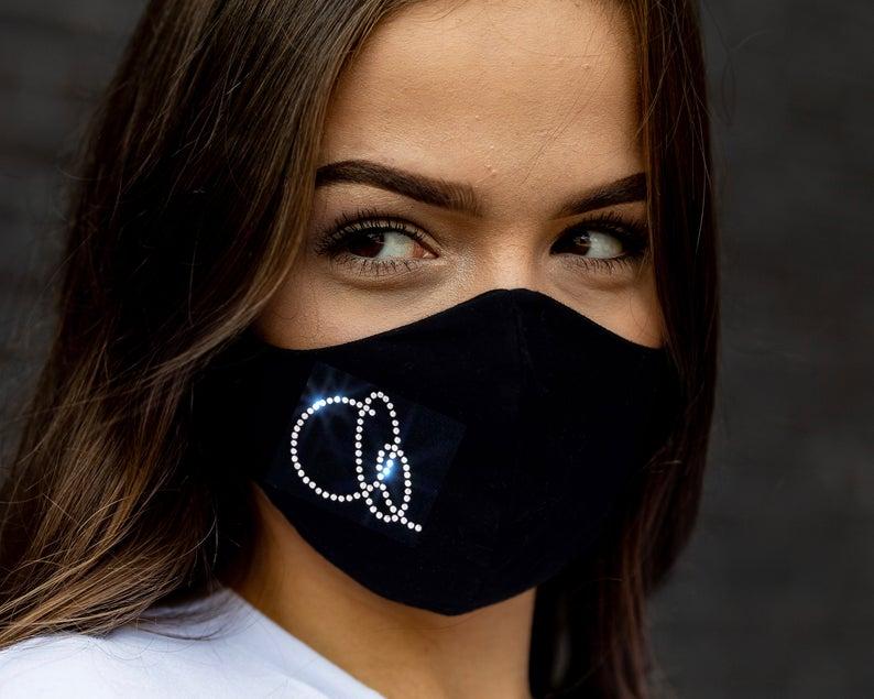 Mascherina per donna personalizzata con iniziale - brillantini- strass - lavabile