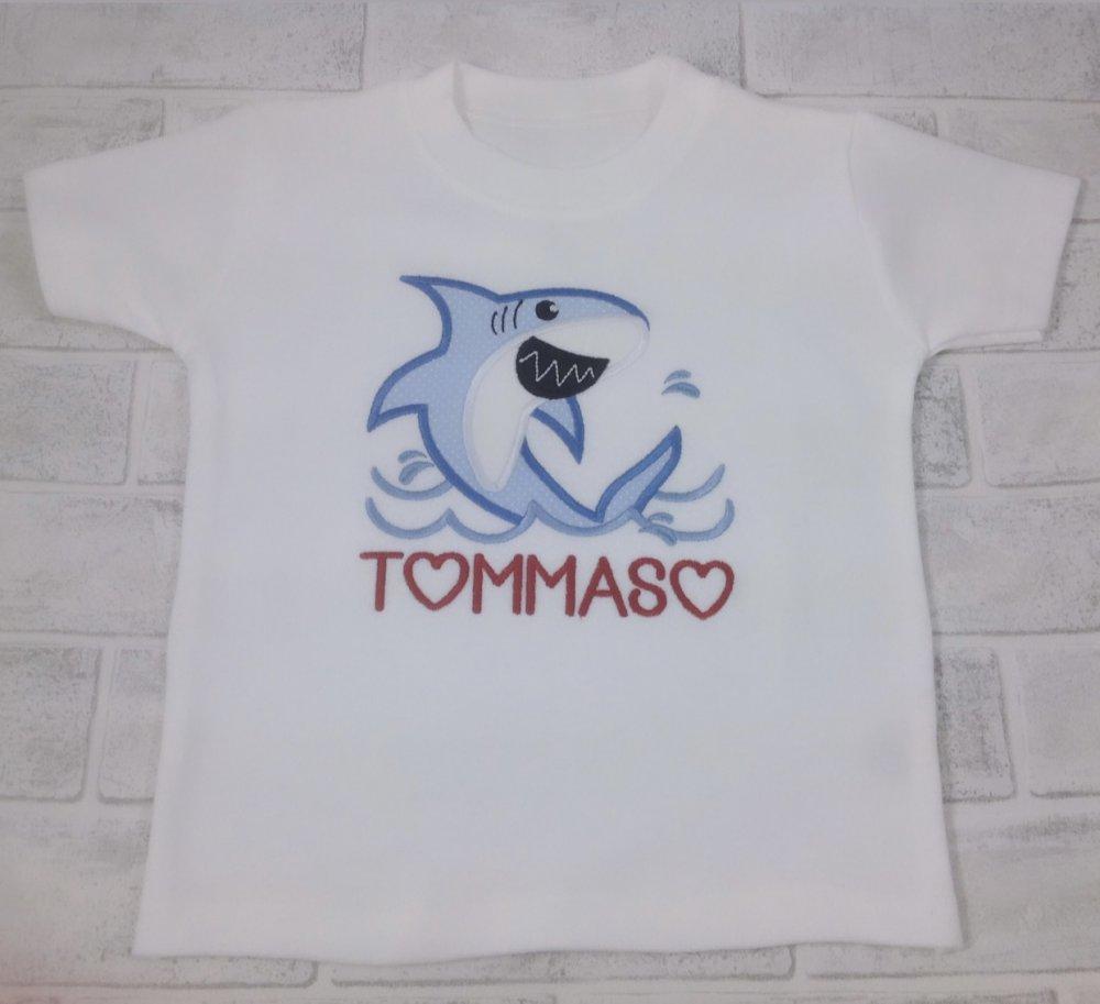 T-shirt Squalo in cotone personalizzata - ricamata