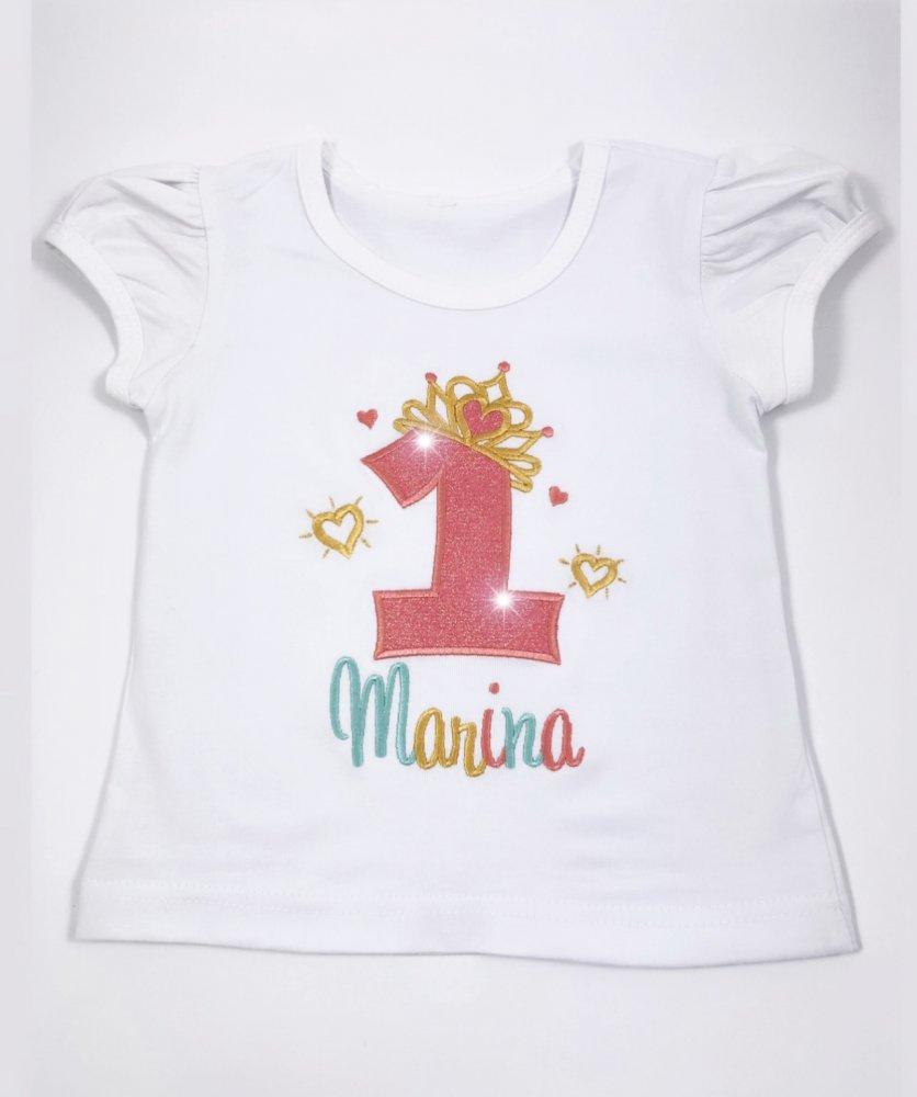 T-shirt compleanno in cotone personalizzata - ricamata - dettagli in glitter