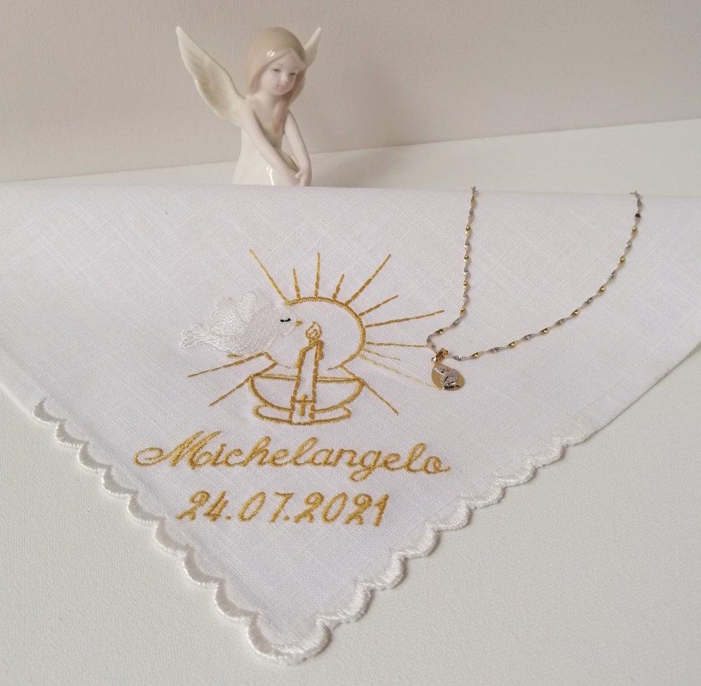 Fazzoletto per il battesimo di puro lino personalizzato