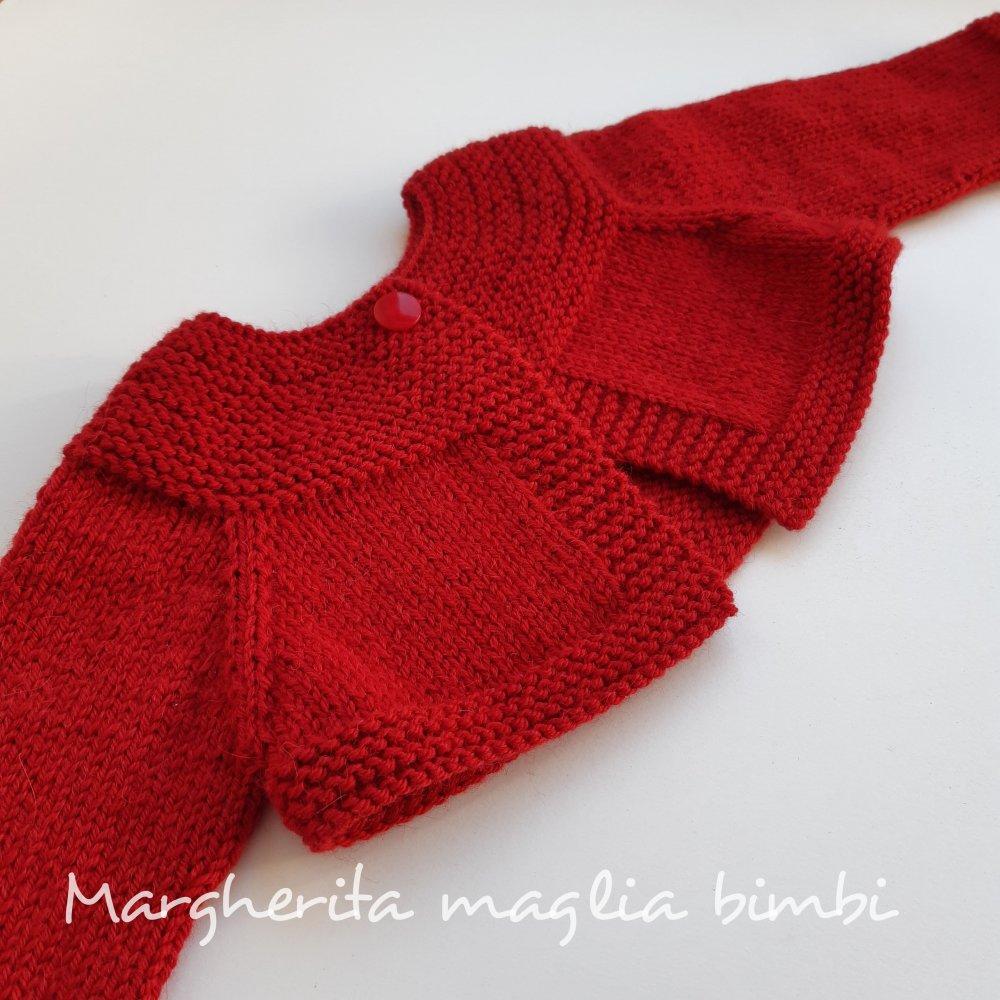 Giacchino, coprispalle, cardigan in lana e alpaca per bambina/neonata - rosso