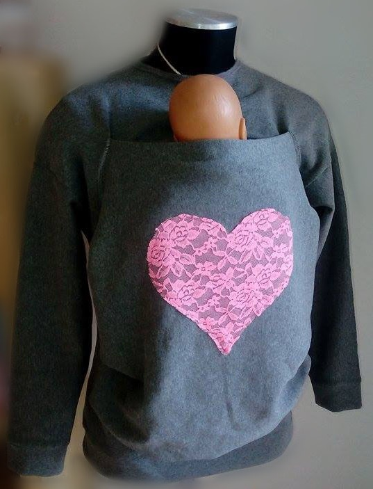Felpa Love CaldiAbbracci con tasca per portare, per babywearing