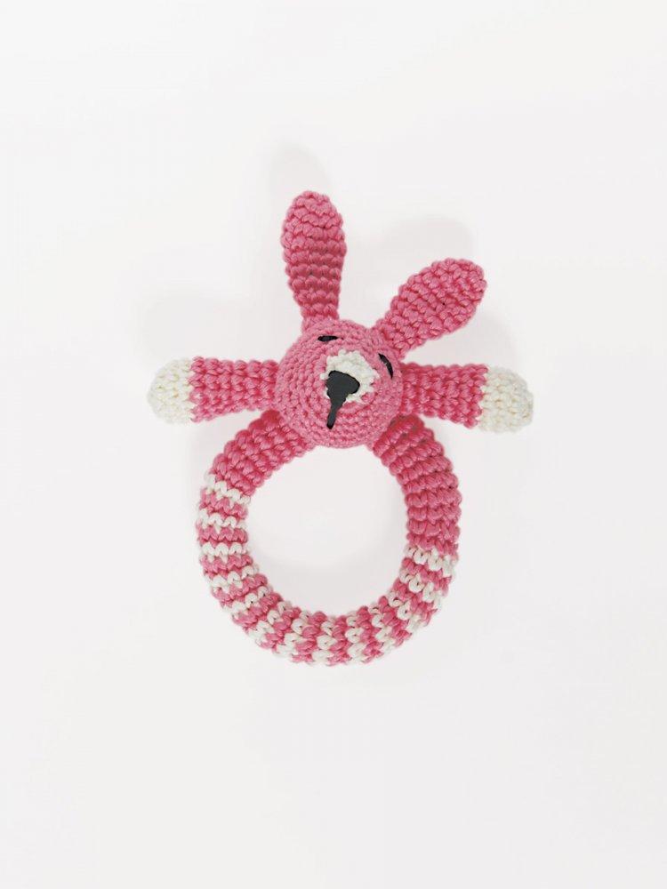 Sonaglio Coniglio per bebè -  fatto a mano uncinetto colore rosa.