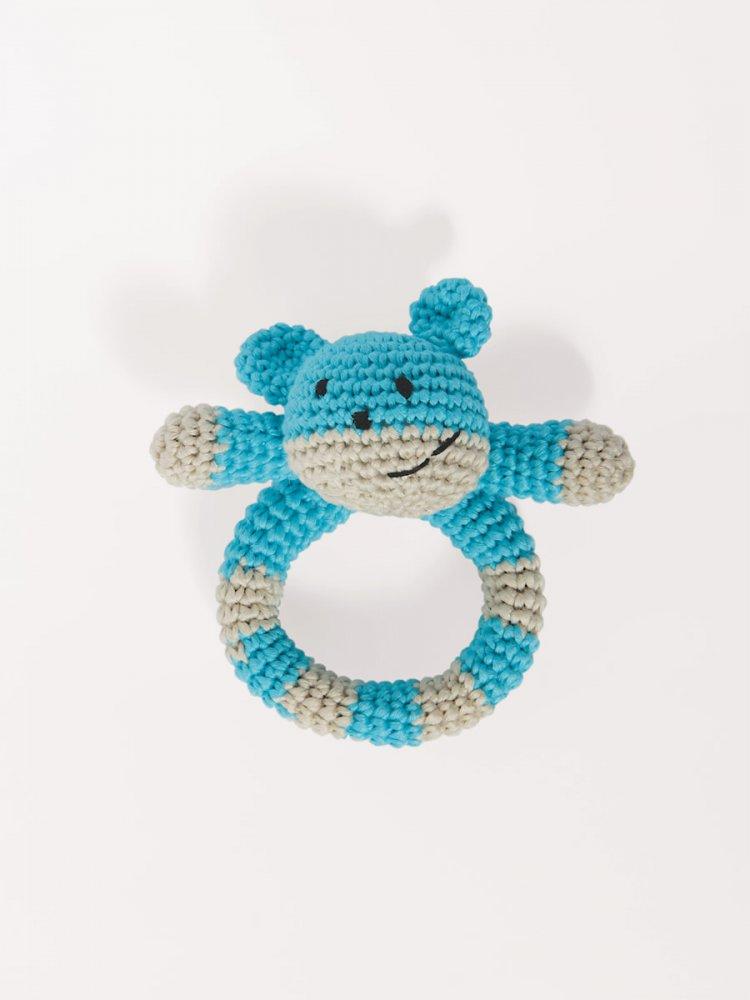 Sonaglio Orsetto per bebè -  fatto a mano uncinetto colore azzurro.