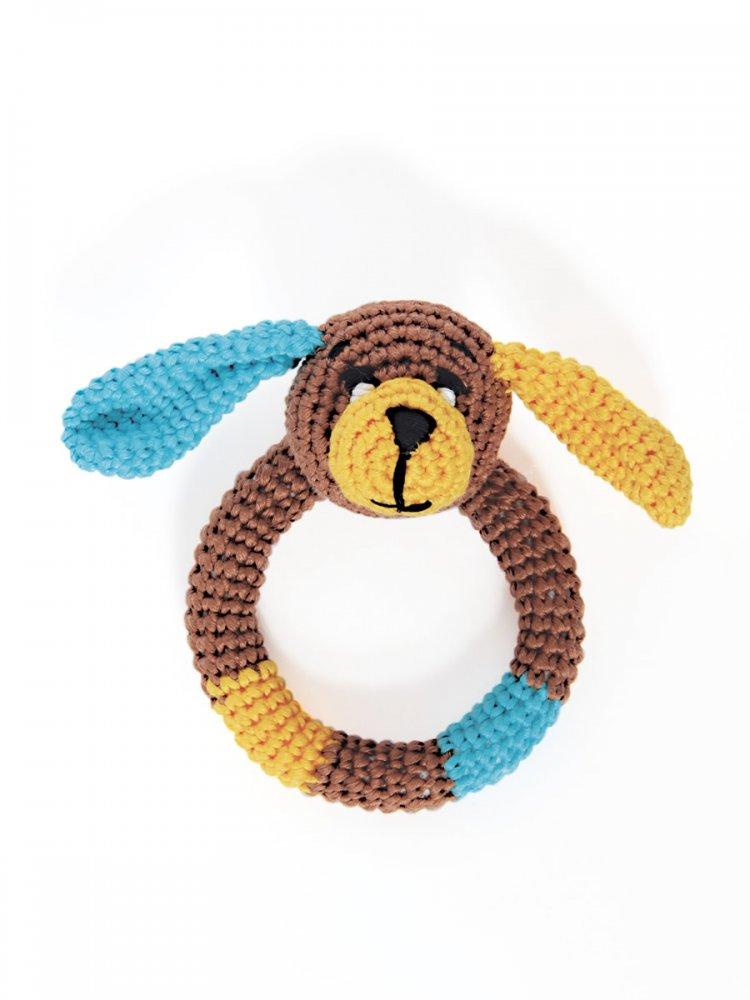 Sonaglio Cagnolino per bebè -  fatto a mano uncinetto colore marrone.