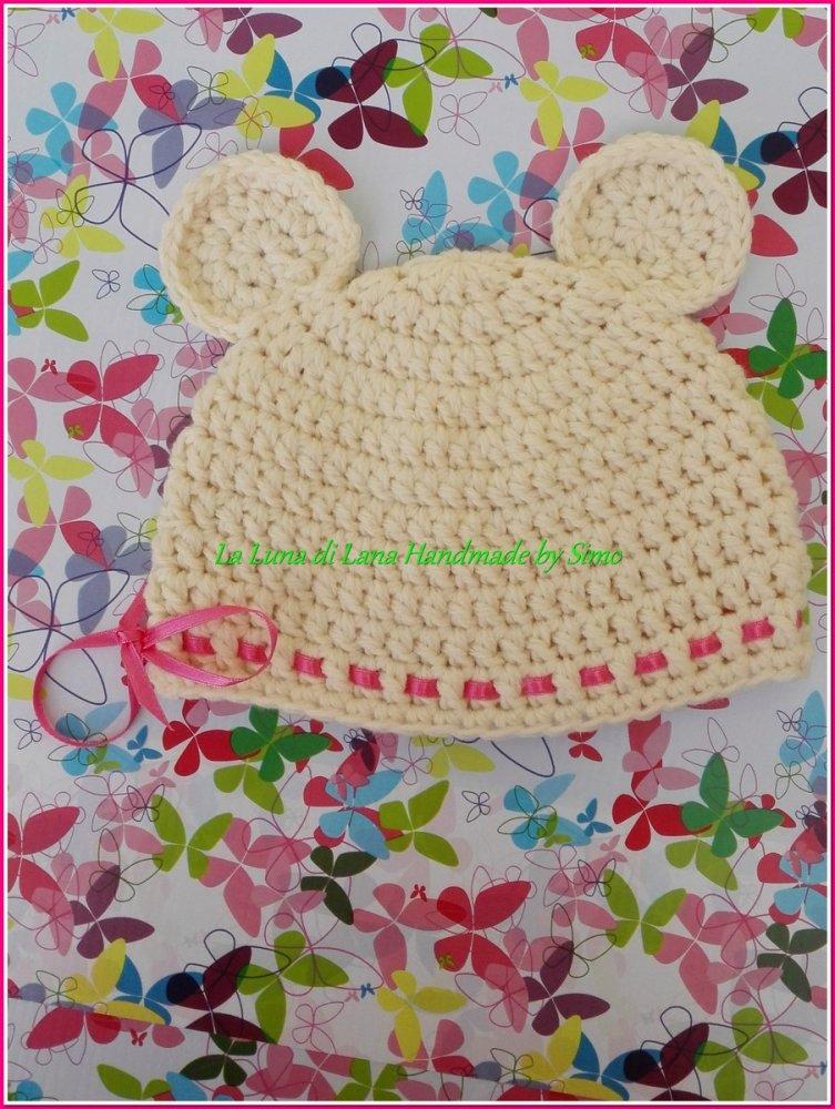 Cappellino a uncinetto neonata o neonato a forma di orsetto