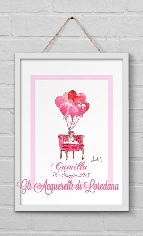 Stampa quadro ad acquerello  °  disegno bimba con palloncini  °  personalizzabile