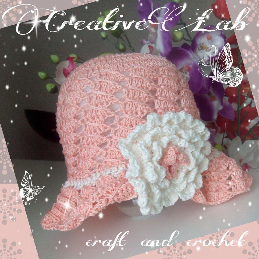 cappello cotone uncinetto bambina con fiore