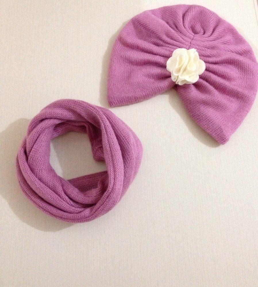 Cappellino turbante per neonata/bambina e scaldacollo