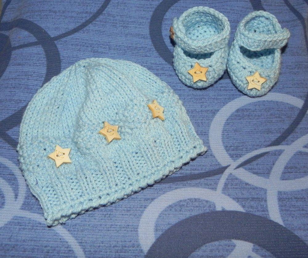 Cappellino e scarpette da 1 a 6 mesi circa