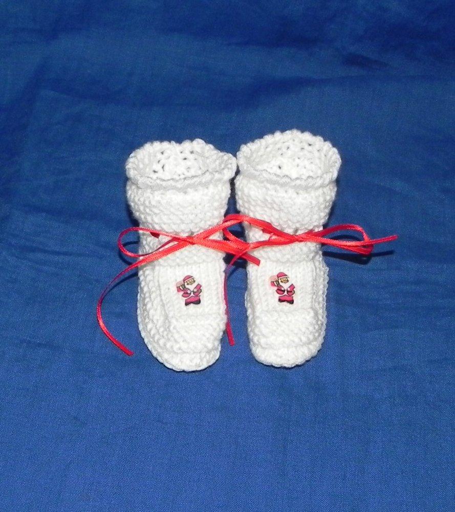 Scarpette neonato in lana Babbo Natale