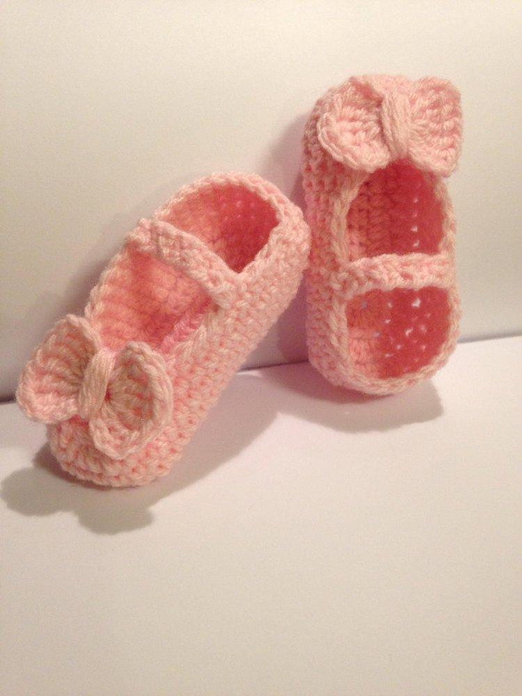 Scarpe scarpine a ballerina neonate in lana uncinetto baby crochet regalo nuovo