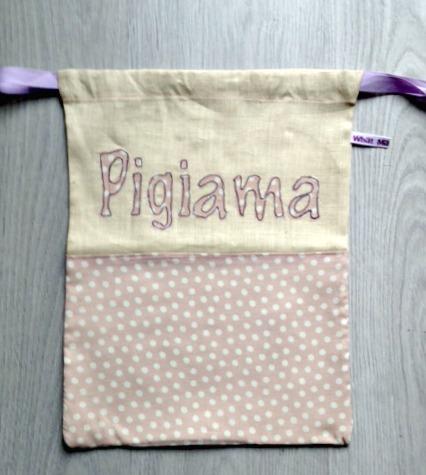 Sacca porta pigiama in lino grezzo a pois bianchi e rosa