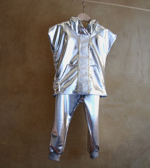 Costume argentato da Cavaliere, Re Artù, Principe, completo argentato per bambini in lycra argentata