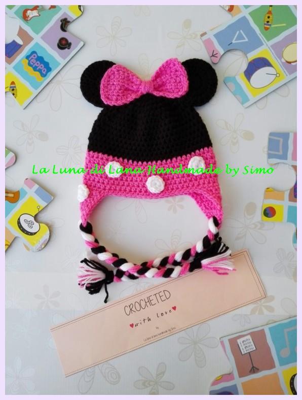 Cappellino a uncinetto per bambina ispirato a Minnie per bimba o neonata