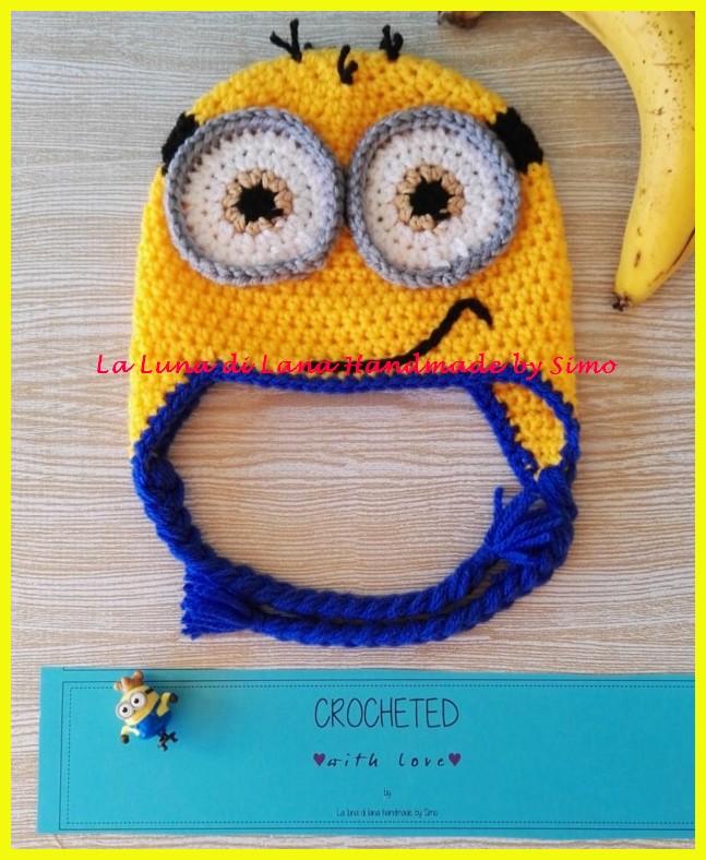 Cappellino uncinetto a forma di Minions per bambino o bambina